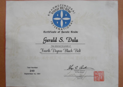 Kwanmuzendokai Kwan Mu Kan International Certification of Karate Grade awarded to Sensei Jerry Dula of Jerry Dula Karate of Asheville, NC